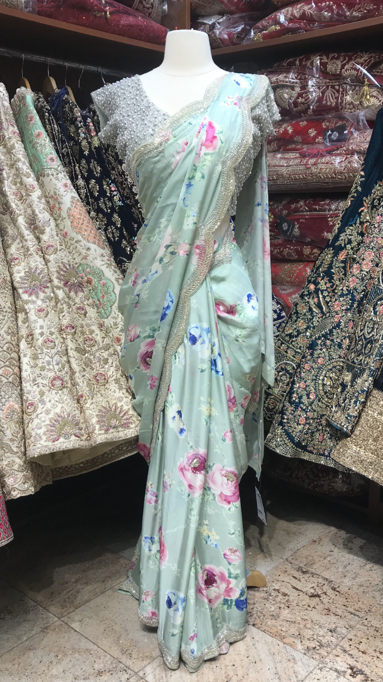 Mint Floral Saree