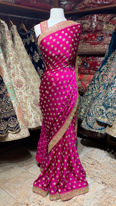 Satin Pink Saree