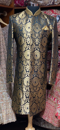 Black and Gold Brocade Size 42 Sherwani