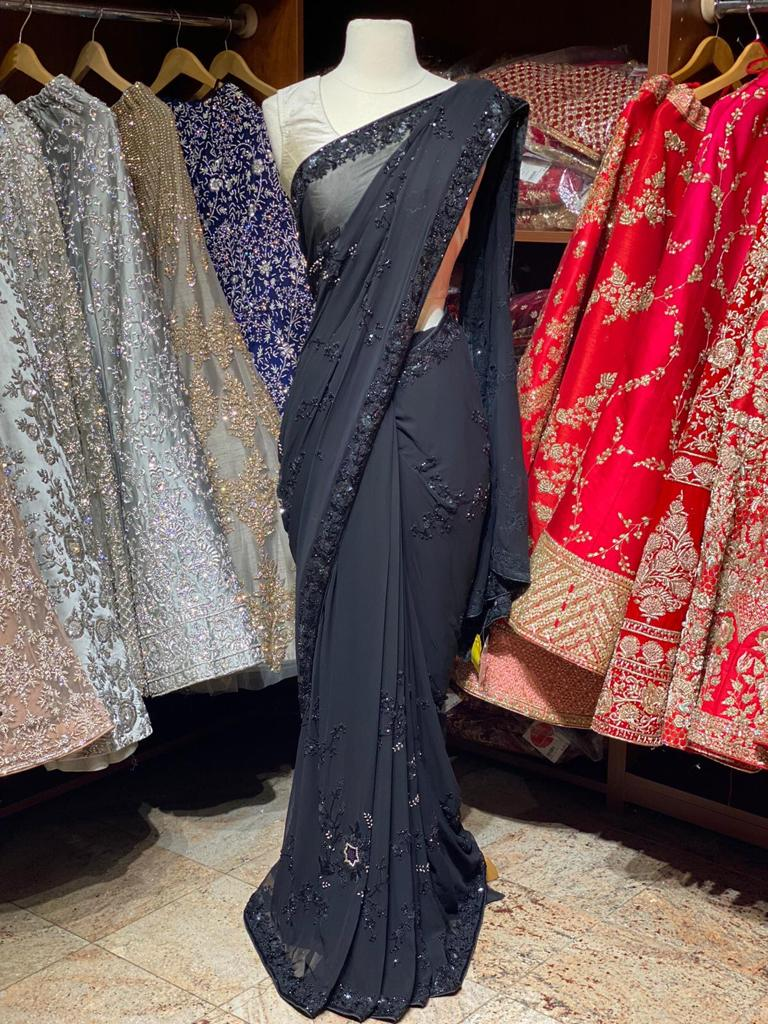 Jade Black Georgette Saree