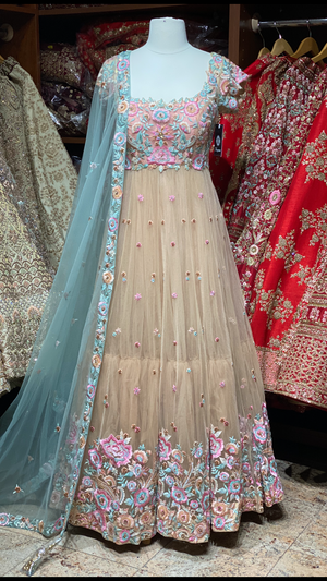 Gold & Blush Floral Gown With Mint Dupatta