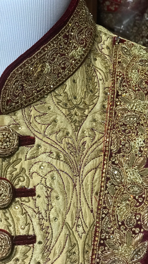 Gold & Burgundy Groom's Sherwani