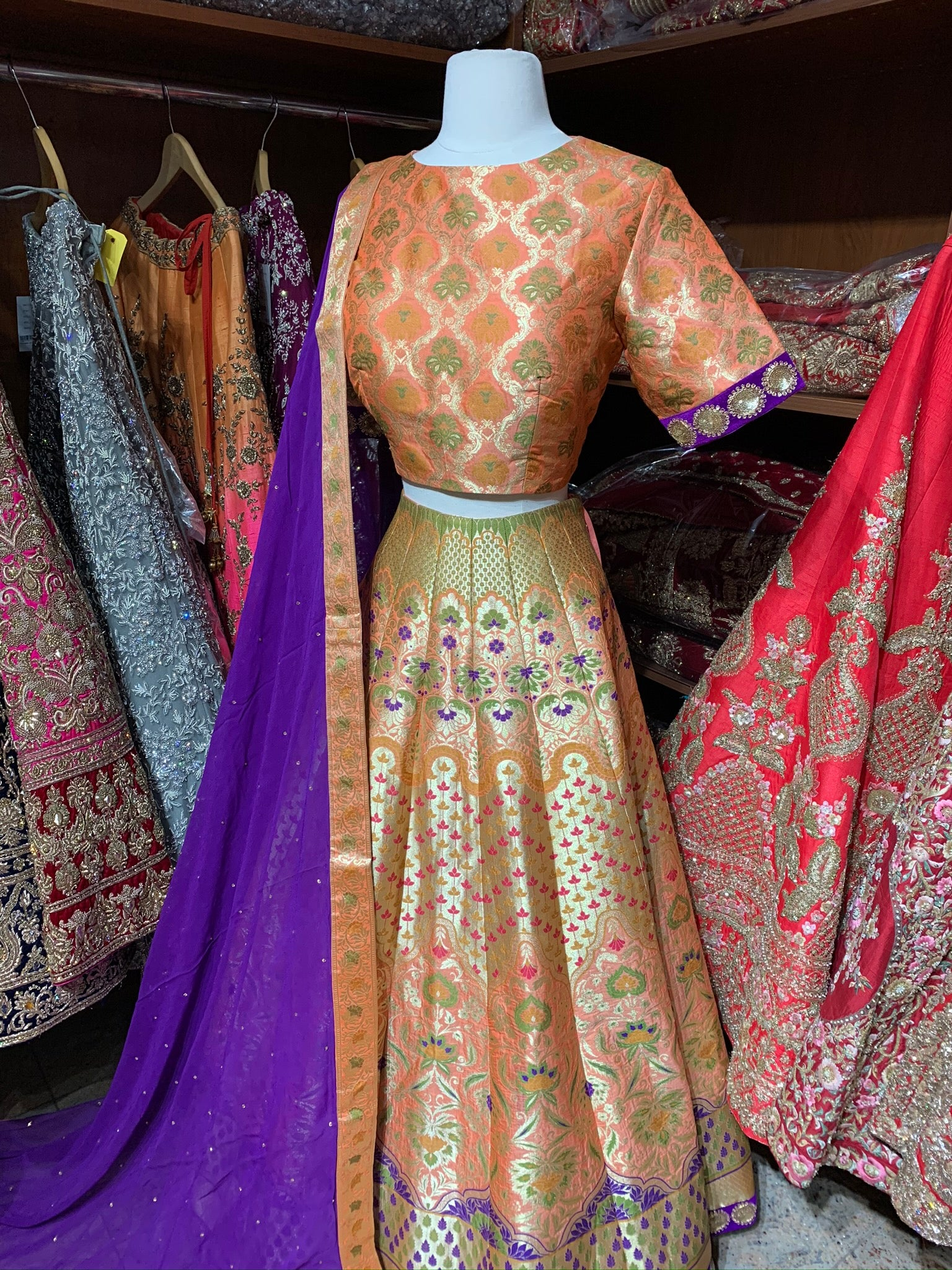 Orange Purple Size 38 Banarasi Lehenga