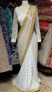 White Pre-Stitched Saree W/ Readymade Blouse