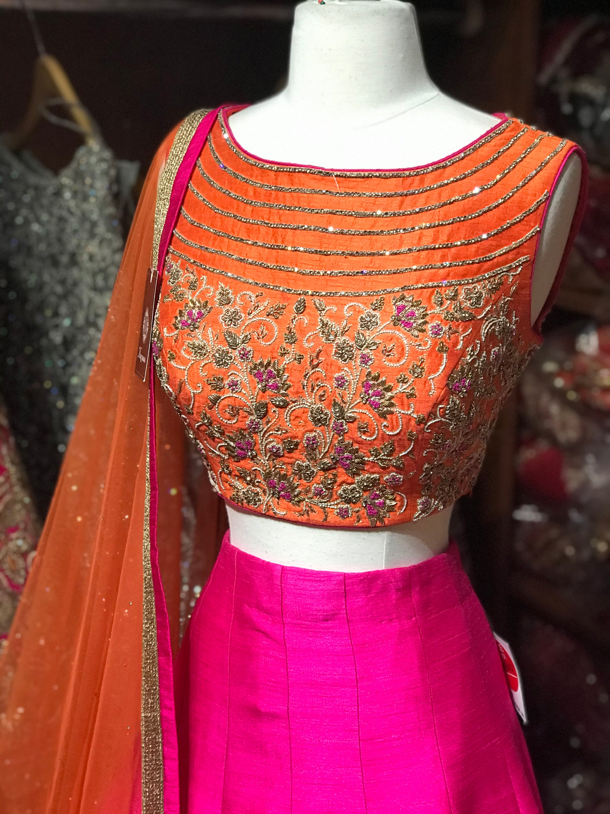 Orange Pink Size 38 Lehenga