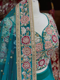 Teal Blue Size 38 Bridal Wear Lehenga
