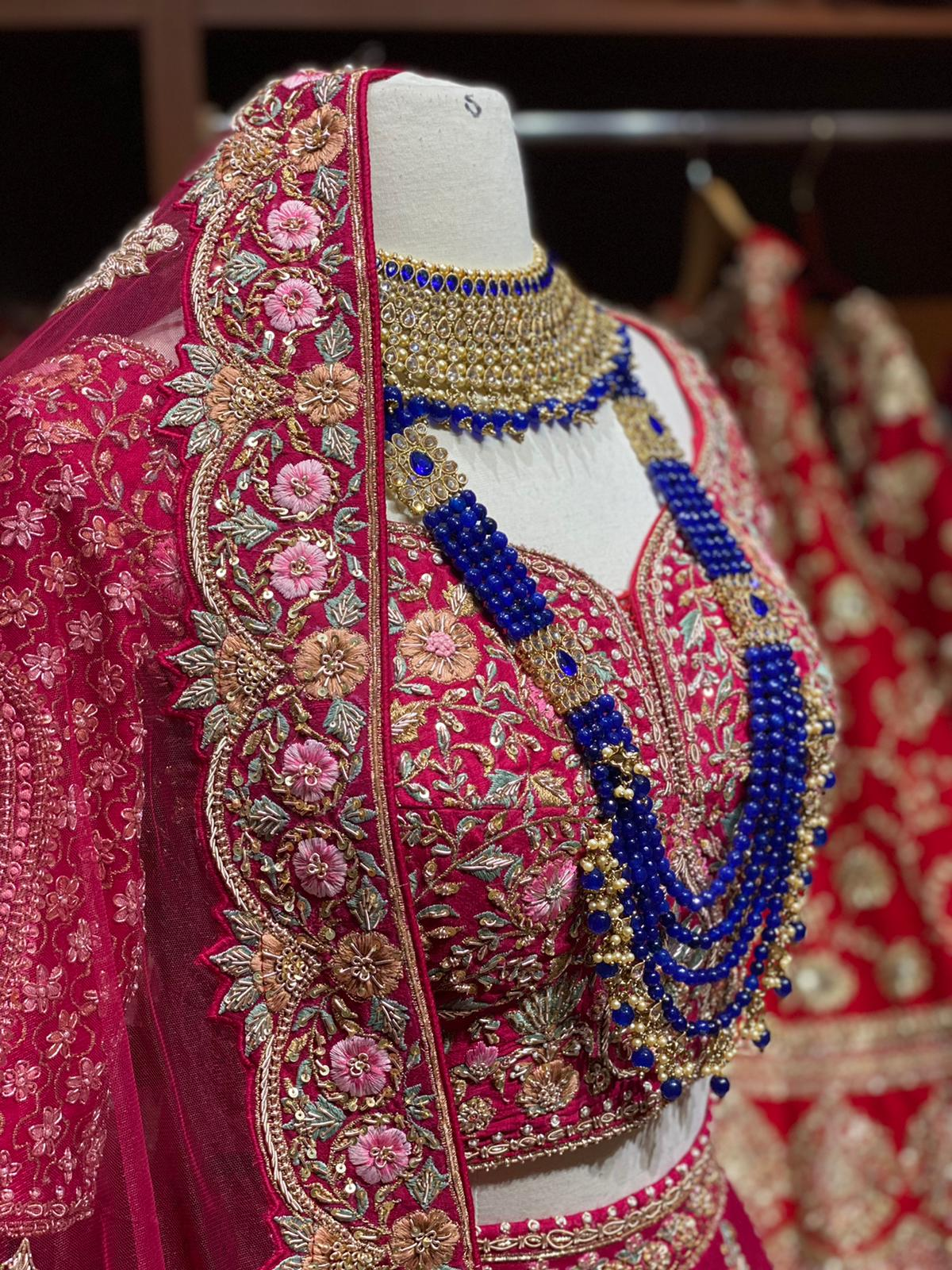Ruby Pink Luxury Collection Bridal Wear Lehenga BWL- 118