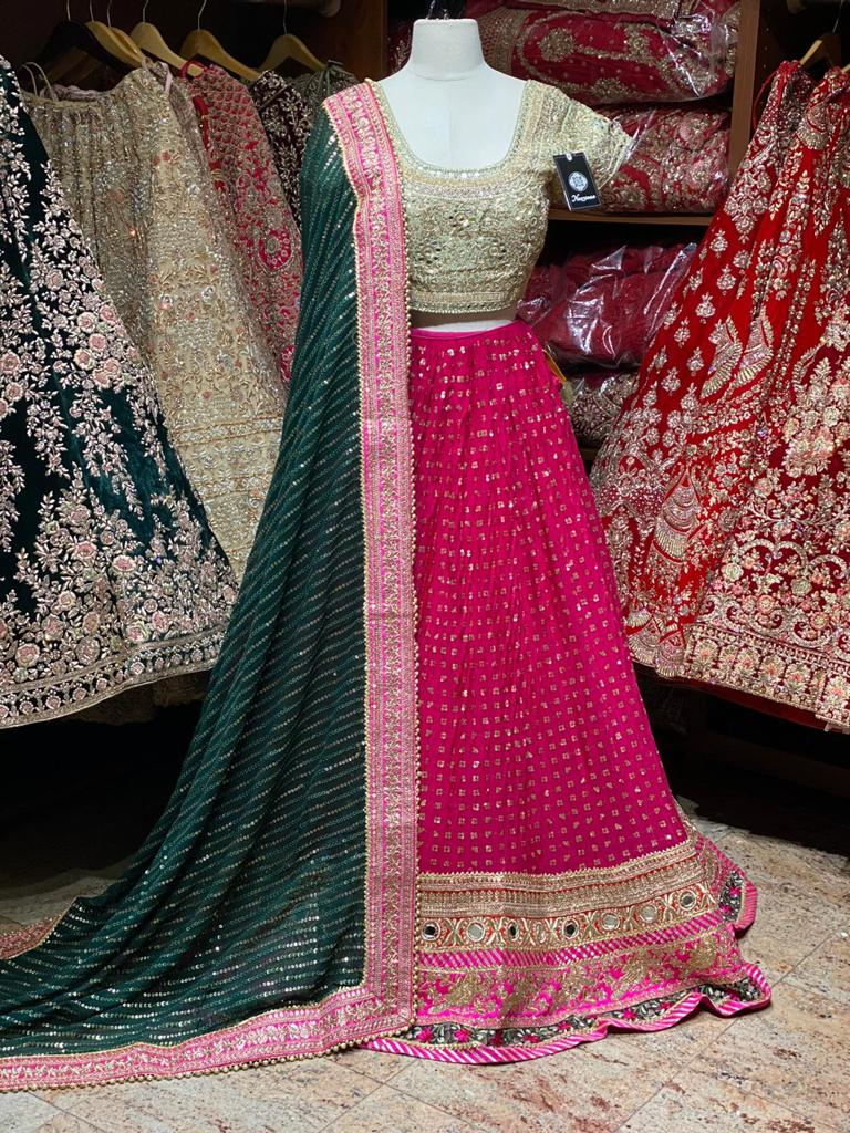Hot Pink Party Wear Lehenga PWL-087