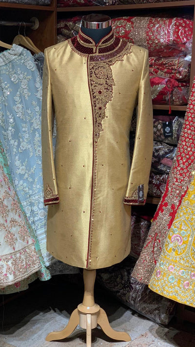 Gold Burgundy Size 40 Wedding Sherwani
