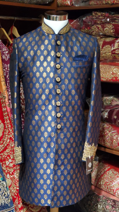 Navy Blue Brocade Sherwani