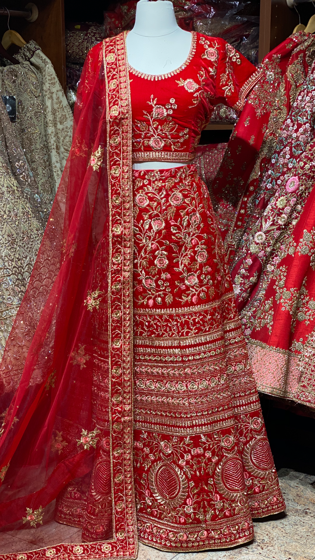 Crimson Red Party Wear Lehenga PWL-006