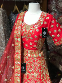 Red Silk Size 38 Bridal Lehenga