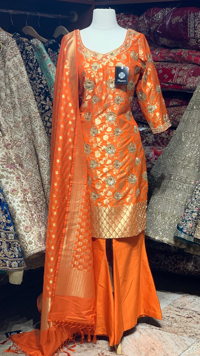 Orange Plazo Suit