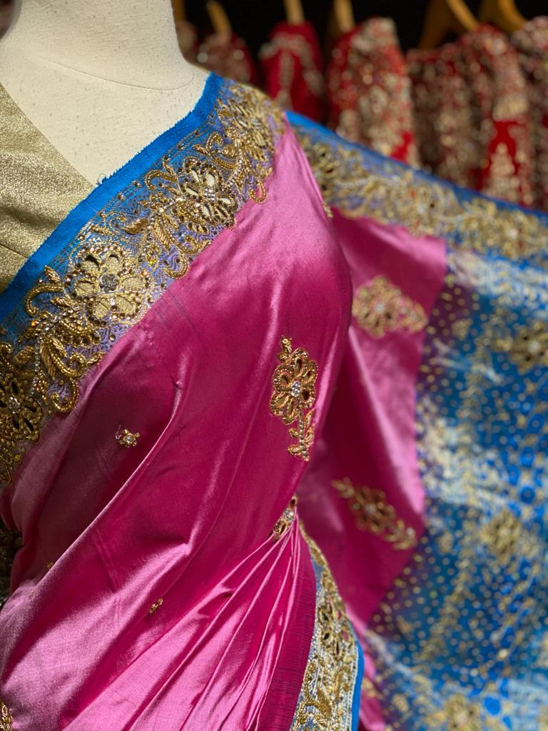 Pink And Blue Pure Silk Kanjeevaram Saree PSK-02