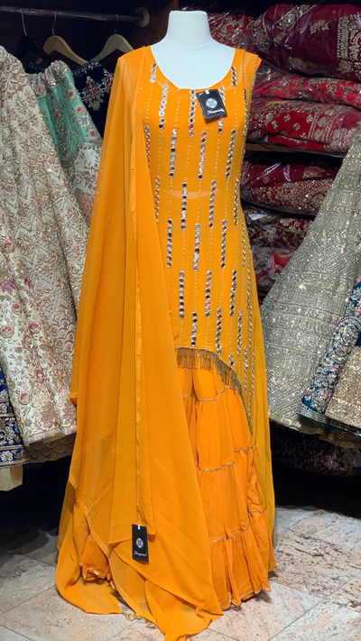 Orange Size 40 Sharara Suit