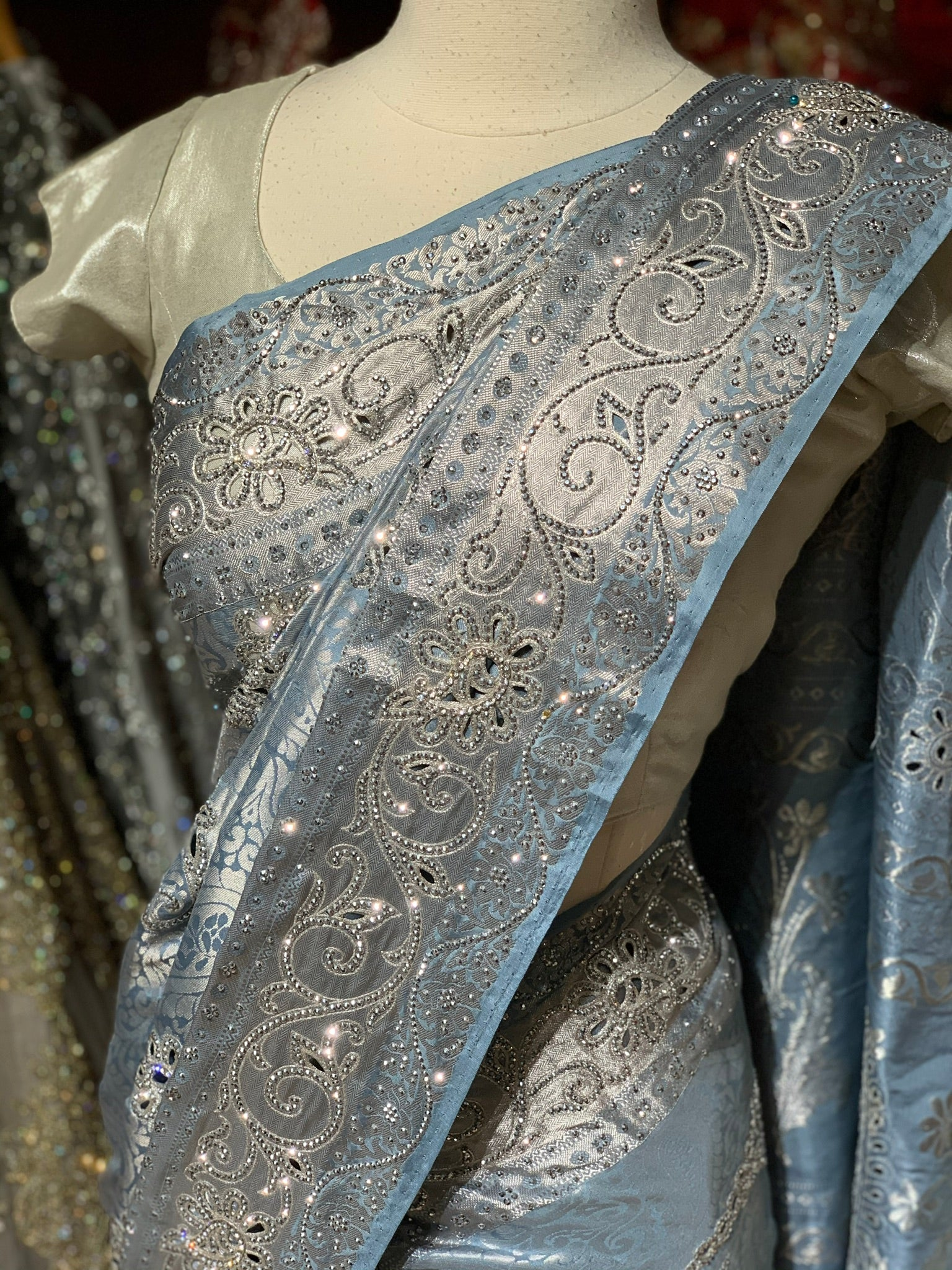 Pastel Blue Pure Silk Kanjeevaram Saree