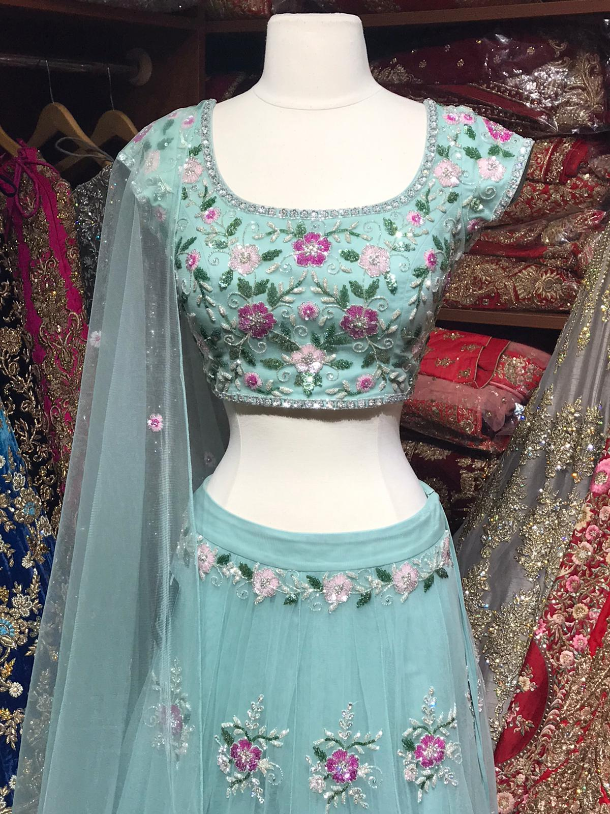 The Blooming Blue Lehenga-PW37