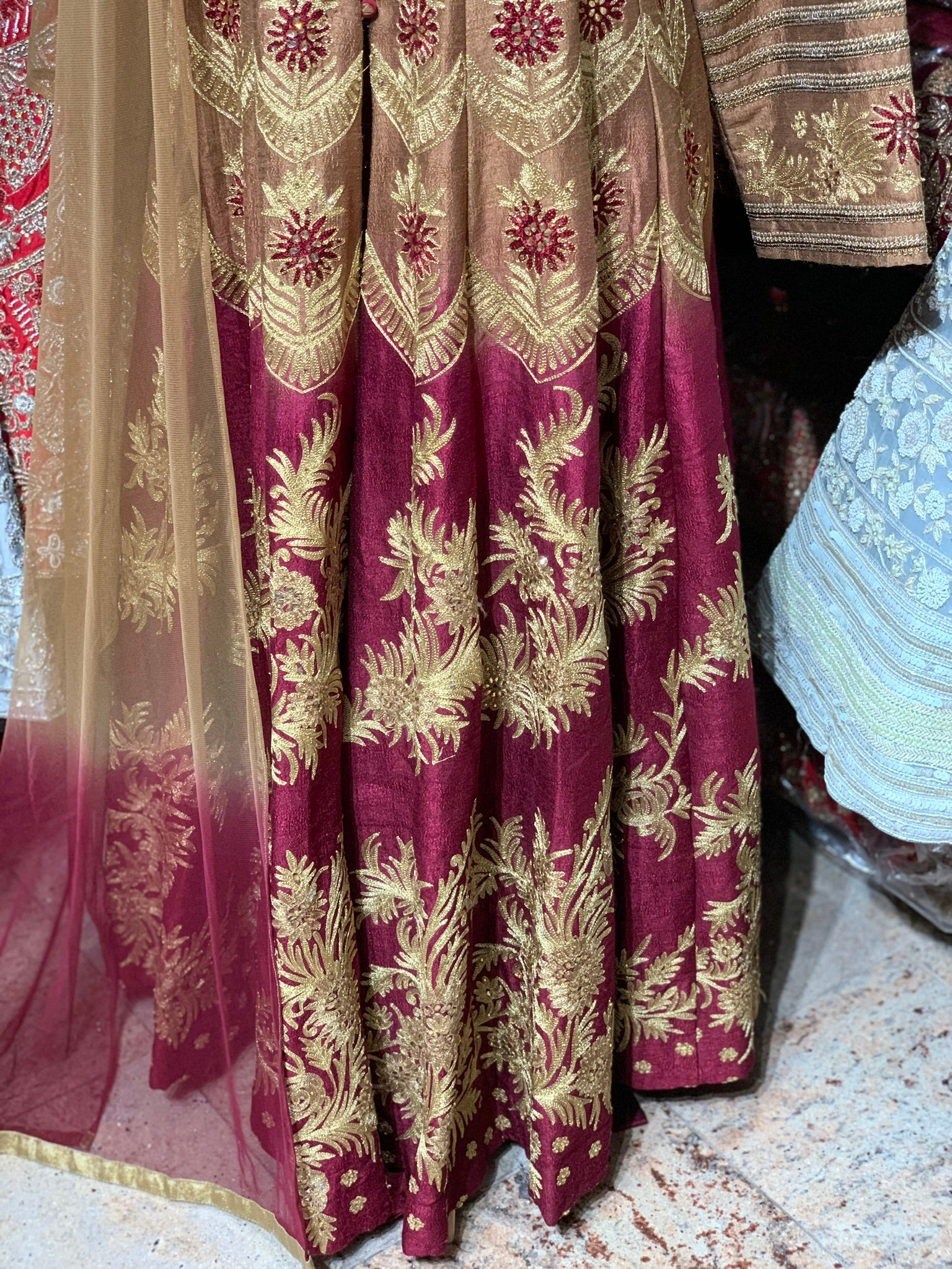 Brown Maroon Size 44 Anarkali
