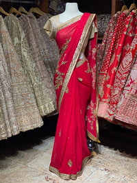 Apple Red Georgette Saree PWS-17