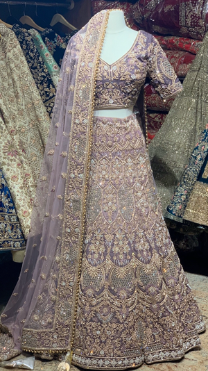 Purple Size 38 Ombre Bridal Lehenga