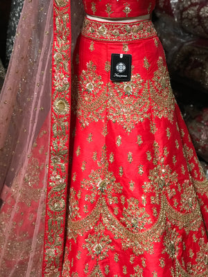 Red Size 40 Sequin Embroidery Lehenga