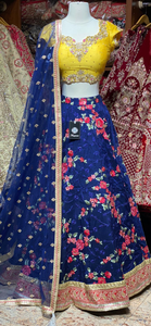 Royal Blue Size 38 Party Wear Floral Lehenga