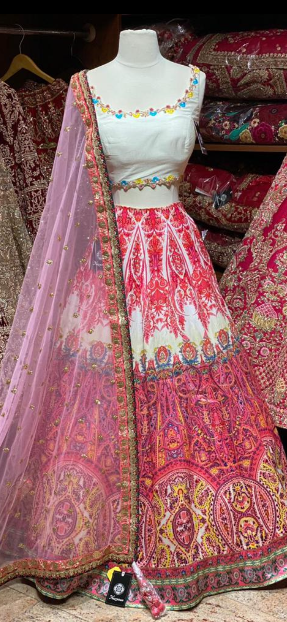 Pink & White Digital Print Party Wear Lehenga PWL-099