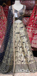 Ivory & Black Party Wear Lehenga PWL-122