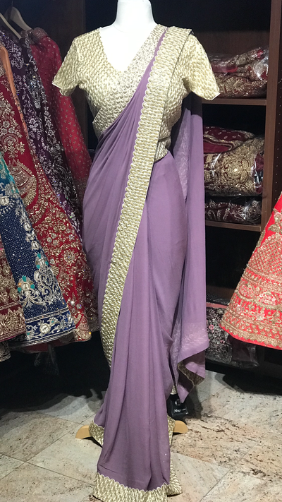 Purple Saree W/ Readymade Blouse