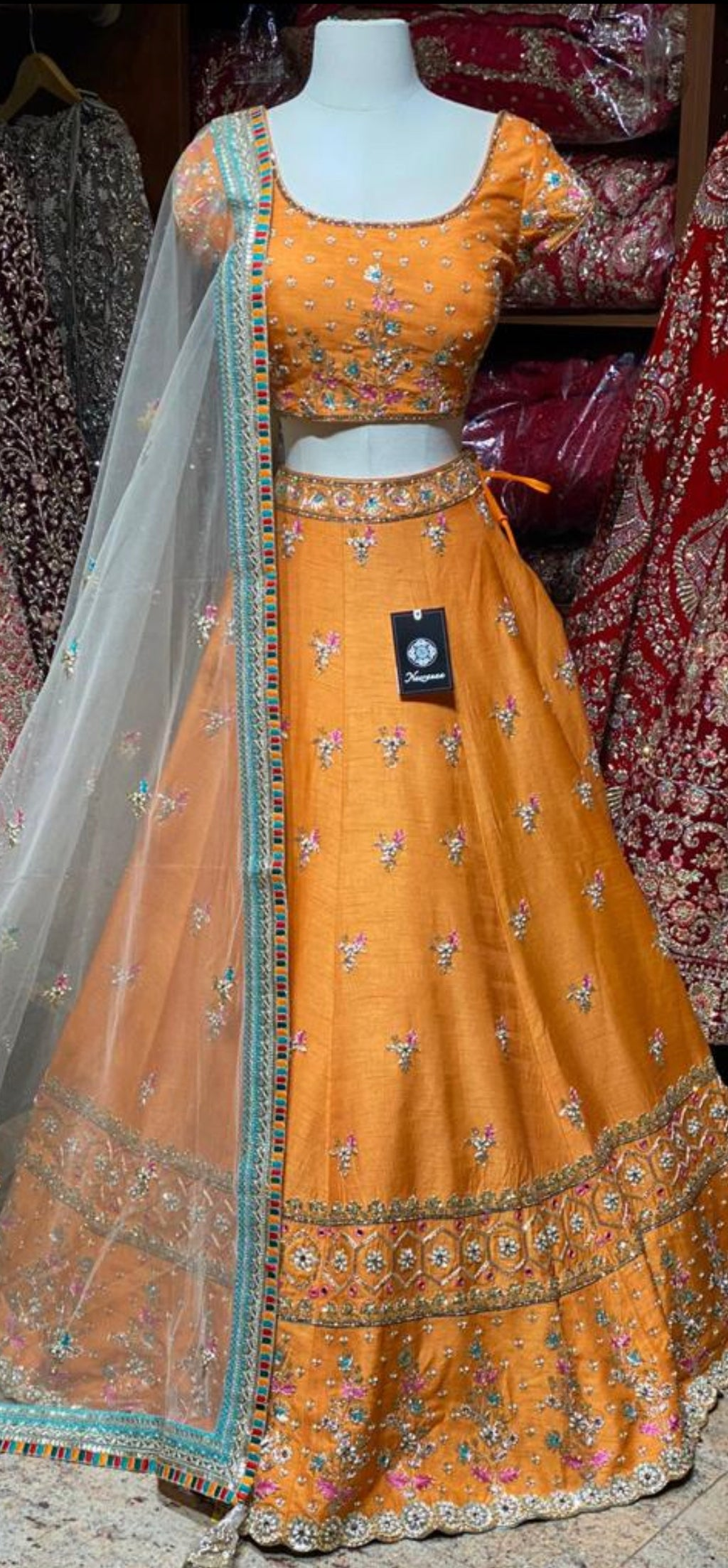 Tangerine Orange Party Wear Lehenga PWL-094