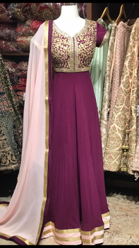 Purple Georgette Bridesmaids Anarkali