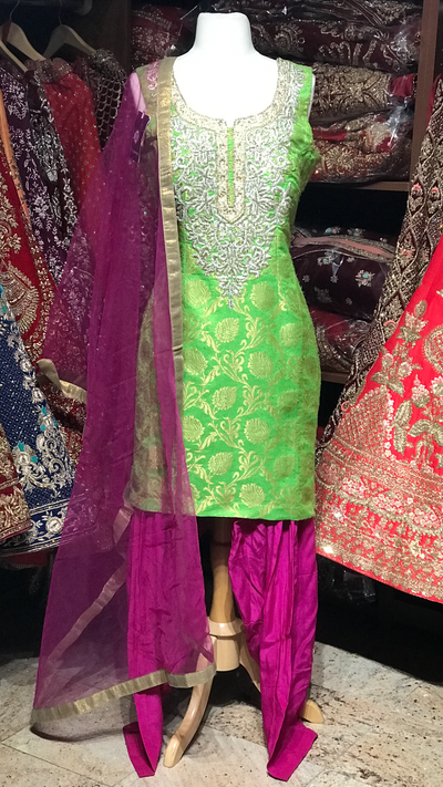Green Purple Size 38 Punjabi Suit