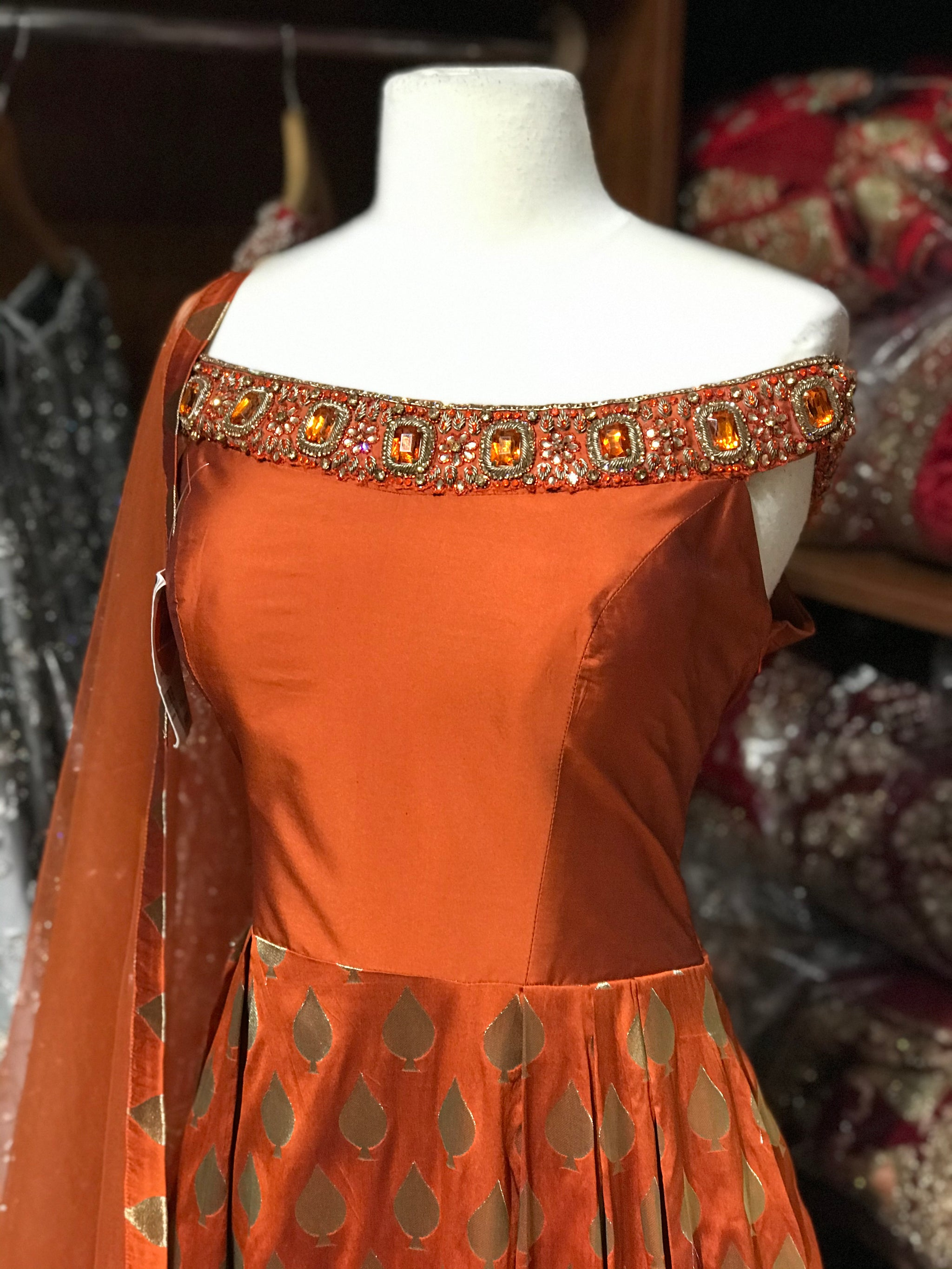 Rust Size 38 Off Shoulder Anarkali