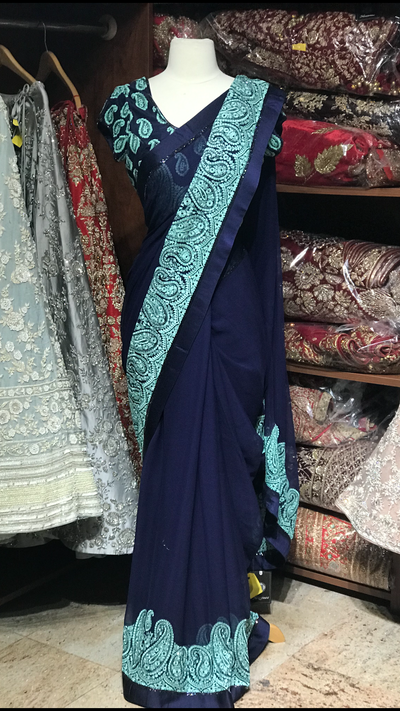 Navy Chiffon Saree W/ Readymade Blouse