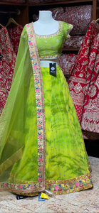 Tie n Dye Lime Green Party Wear Lehenga PWL-121