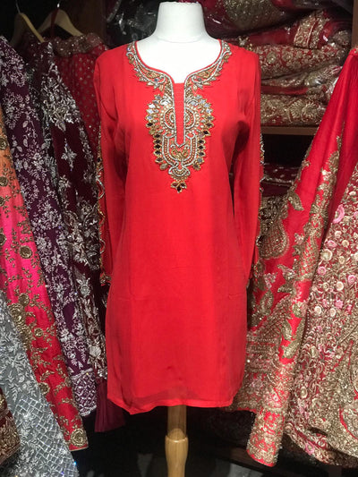 Georgette Kurti W/Stone Work Sleeves D2