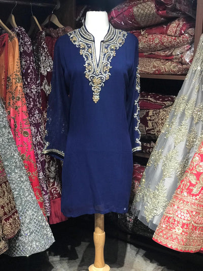Georgette Kurti W/Stone Work Sleeves & Collar D1
