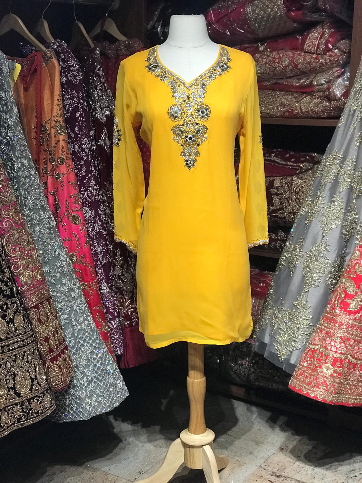 Georgette Kurti W/Stone Work Sleeves D5