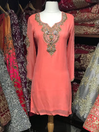 Georgette Kurti W/Stone Work Sleeves D3