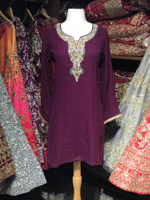Georgette Stone Neck Work Kurti D7