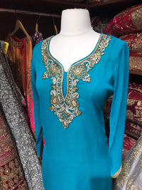 Georgette Stone Neck Work Kurti D8
