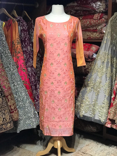 Chanderi Kurti W/Embroidery & Stone Work D21