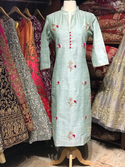 Chanderi Kurti W/Zardosi & Thread Work D23