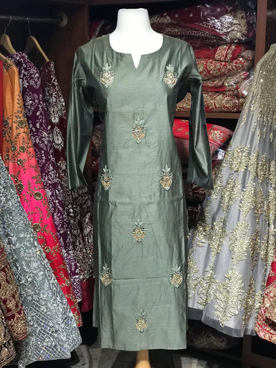 Chanderi Kurti W/Thread & Stone Work D25