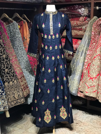 Raw Silk Gotta Patti Anarkali Kurti D111