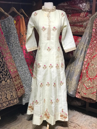 Raw Silk Gotta Patti Anarkali Kurti D107