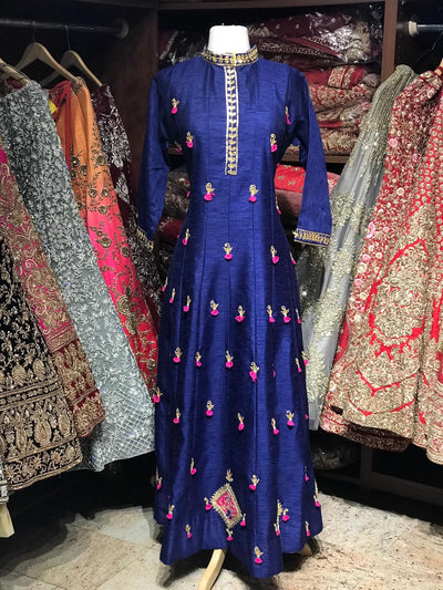 Raw Silk Gotta Patti Anarkali Kurti D109
