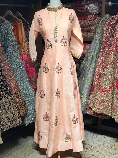 Raw Silk Gotta Patti Anarkali Kurti D106