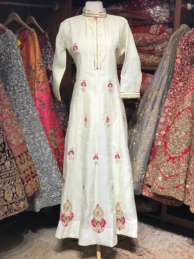 Raw Silk Gotta Patti Anarkali Kurti D108