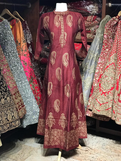 Maroon Raw Silk Gold Foil Anarkali Kurti D119